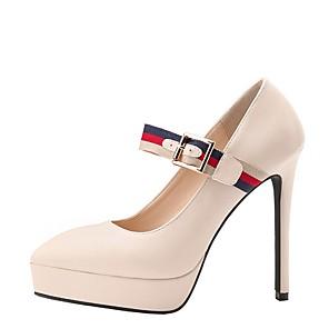 cheap Women's Boots-Women's Heels Stiletto Heel Pointed Toe PU Winter Black / Almond / Red