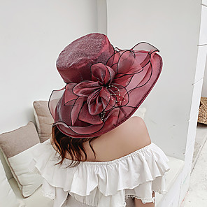 cheap Party Hats-Women's Party Basic Cute Lace Floppy Hat Sun Hat-Floral Solid Colored Spring Summer Wine Purple Blushing Pink