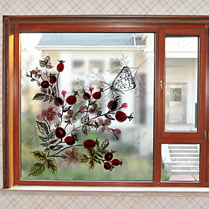 cheap Wall Stickers-Retro Flowers Window Film & Stickers Decoration Vintage Style / Patterned Flower / Floral / 3D Print PVC(PolyVinyl Chloride) Window Sticker / Matte / Door Sticker