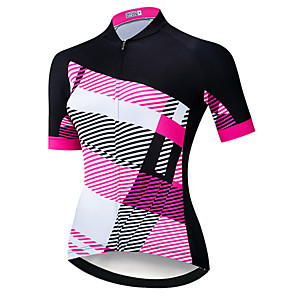 cheap Cycling Jerseys-21Grams Women's Short Sleeve Cycling Jersey Black / Red Stripes Bike Jersey Top Mountain Bike MTB Road Bike Cycling UV Resistant Breathable Quick Dry Sports Clothing Apparel / Stretchy / Race Fit