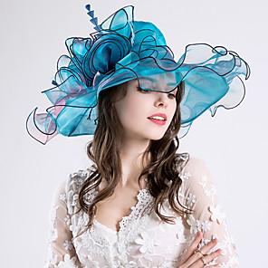 cheap Historical & Vintage Costumes-Queen Elizabeth Audrey Hepburn Retro Vintage Kentucky Derby Hat Fascinator Hat Women's Organza Costume Hat Golden / Purple / Burgundy Vintage Cosplay Party Party Evening