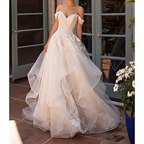 cheap Ballroom Dancewear-A-Line Wedding Dresses Strapless Court Train Polyester Short Sleeve Formal Illusion Detail with Lace Insert Appliques 2020
