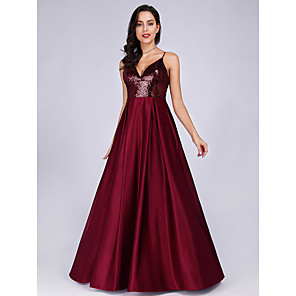 cheap Ballroom Dancewear-A-Line Sparkle Red Prom Formal Evening Dress Spaghetti Strap Sleeveless Floor Length Satin with Sequin 2020