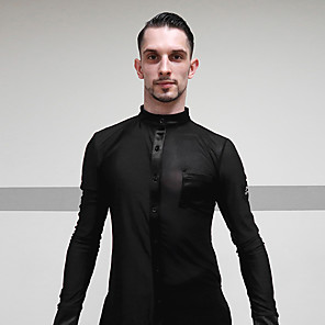 cheap Latin Dancewear-Latin Dance Top Ruching Men's Performance Long Sleeve Polyester / Cotton