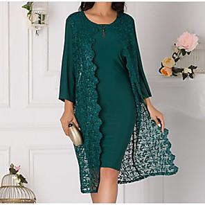 cheap Wedding Wraps-3/4 Length Sleeve Coats / Jackets Chiffon / Lace Wedding Women's Wrap With Lace / Split Joint