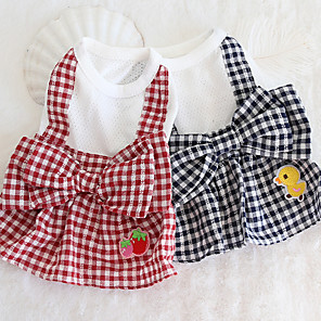 cheap Dog Clothes-Dog Costume Dress Dog Clothes Breathable Blue Costume Beagle Bichon Frise Chihuahua Cotton Plaid / Check Cartoon Bowknot Casual / Sporty Cute XS S M L XL