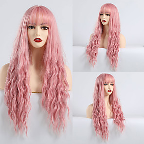 cheap Synthetic Trendy Wigs-Synthetic Wig Bangs Matte Water Wave Lily Neat Bang Wig Pink Long Pink Synthetic Hair 28 inch Women's curling Pink