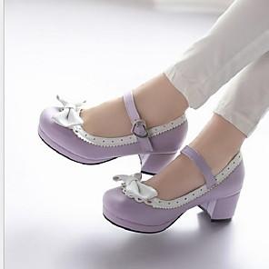 cheap Women's Boots-Women's Flats Flat Heel Round Toe PU Winter Black / Purple / Red
