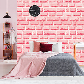 cheap Bathroom Gadgets-Pink Brick Self Adhesive Wallpaper 3D Waterproof Home Decor Wallpapers for Living Room Decorative Wall Stickers 45CM*100CM