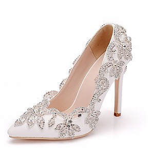 cheap Wedding Shoes-Women's Wedding Shoes Crystal Sandals Stiletto Heel Pointed Toe PU Spring & Summer White