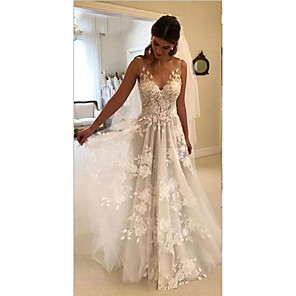 cheap Wedding Veils-A-Line Wedding Dresses V Neck Court Train Lace Regular Straps Formal Casual Beach with 2020