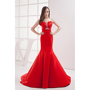 cheap Evening Dresses-Mermaid / Trumpet Elegant Formal Evening Dress Scalloped Neckline Sleeveless Court Train Satin with Ruched Beading 2020