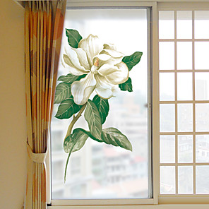 cheap Wall Stickers-Creative White Flowers Window Film & Stickers Decoration Matte / Floral Geometric PVC(PolyVinyl Chloride) Window Sticker / Matte / Door Sticker