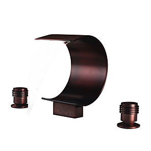 cheap Bathroom Sink Faucets-Bathroom Sink Faucet - Waterfall Oil-rubbed Bronze Widespread Two Handles Three HolesBath Taps