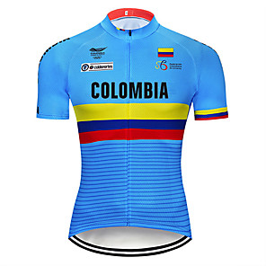 cheap Cycling Jerseys-21Grams Men's Short Sleeve Cycling Jersey Blue Columbia National Flag Bike Jersey Top Mountain Bike MTB Road Bike Cycling UV Resistant Breathable Quick Dry Sports Clothing Apparel / Stretchy