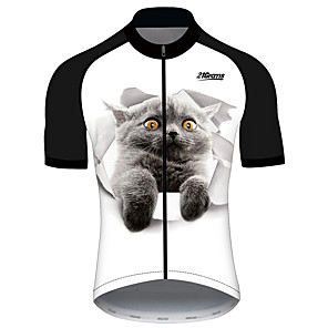 cheap Tattoo Stickers-21Grams Men's Short Sleeve Cycling Jersey Black / White Cat Animal Bike Jersey Top Mountain Bike MTB Road Bike Cycling UV Resistant Breathable Quick Dry Sports Clothing Apparel / Stretchy / Race Fit