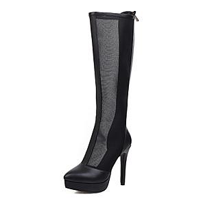cheap Women's Boots-Women's Boots Mesh Stiletto Heel Round Toe Microfiber Classic Spring & Summer Almond / Black / Party & Evening