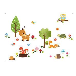 cheap Wall Stickers-Forest Animals Tree wall stickers for kids room Monkey owl Jungle wild Wall Decal Baby Nursery Bedroom Decor Poster Mural