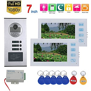 cheap Video Door Phone Systems-7inch Record Video Intercom 2 Apartments Video Door Phone Intercom System with  RFID HD1080P Doorbell Waterproof Camera