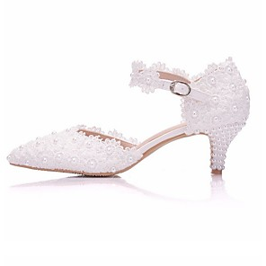 cheap Wedding Shoes-Women's Wedding Shoes Glitter Crystal Sequined Jeweled Low Heel Pointed Toe PU Spring & Summer Pink / White