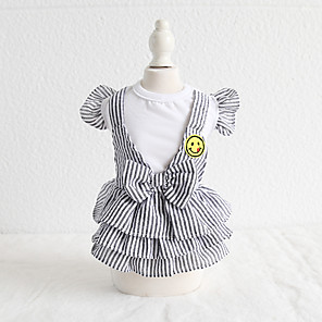 cheap Dog Clothes-Dog Costume Dress Dog Clothes Breathable Gray Costume Beagle Bichon Frise Chihuahua Cotton Plaid / Check Bowknot Casual / Sporty Cute XS S M L XL
