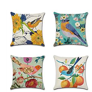cheap Pillow Covers-4 pcs Linen Pillow Cover HolidayRustic Cartoon Flower and Bird Throw Pillow 45*45 cm