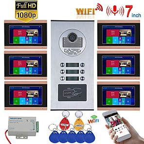 cheap Video Door Phone Systems-7inch Record Wired Wifi Video Intercom 6 Apartments with 6 Family RFID Doorphone System IR-CUT HD 1080P Doorbell Camera