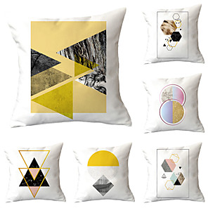 cheap Pillow Covers-6pcs Throw Pillow Simple Classic 45*45 cm Blue abstract print pillow office waist cushion cover