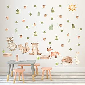 cheap Wall Stickers-Decorative Wall Stickers - Plane Wall Stickers / Holiday Wall Stickers Animals / Floral / Botanical Nursery / Kids Room