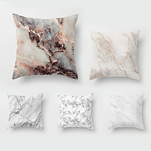 cheap Pillow Covers-5 pcs Throw Pillow Simple Classic 45*45 cm Marbled Car Waist Pillow Sofa throw