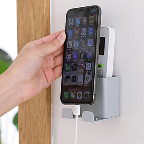 cheap Phone Mounts & Holders-1PC Multifunction Phone Wall Holder Wall-Mounted Storage Rack Smartphone Hanging Cellphone Tablet Charging Remote Control Holder