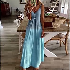 cheap Necklaces-Women's Strap Dress Maxi long Dress - Sleeveless Color Gradient Summer Plus Size Holiday Beach 2020 Blue Yellow Blushing Pink Gray S M L XL XXL XXXL XXXXL XXXXXL