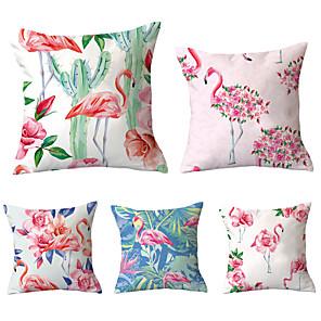 cheap Throw Pillow Covers-Set of 5 Throw Pillow Simple Classic 45*45 cm Flamingo Car Waist Pillow Sofa pillow cover