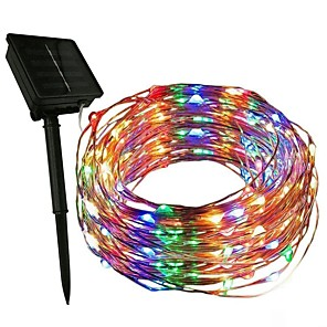 cheap Smartwatches-2m String Lights 200 LEDs 1Set Mounting Bracket 1 set Warm White / White / Multi Color Halloween / Christmas Party / Decorative / Holiday Solar Powered