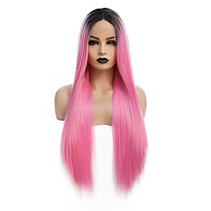cheap Synthetic Lace Wigs-Synthetic Lace Front Wig Straight Gaga Middle Part Lace Front Wig Pink Long Ombre Pink Synthetic Hair 22-26 inch Women's Heat Resistant Women Hot Sale Pink / Glueless
