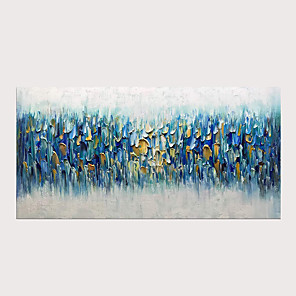 cheap Abstract Paintings-3D Hand Painted Blue Rhapsody Abstract Knife Paintings on Canvas  Modern Artwork for Home Decor with Stretched Frame Ready to Hang