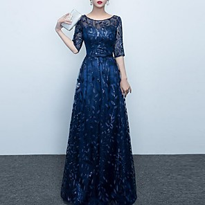 cheap Wedding Veils-A-Line Elegant Prom Formal Evening Dress Jewel Neck Half Sleeve Floor Length Polyester with Embroidery 2020