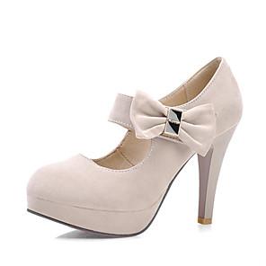 cheap Women's Heels-Women's Heels Stiletto Heel Round Toe Synthetics Spring &  Fall Black / Dark Red / Beige