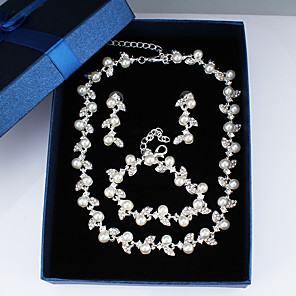 cheap Jewelry Sets-Women's White Chain Bracelet Hoop Earrings Necklace Classic Star Basic Korean Sweet Cute Imitation Pearl Earrings Jewelry Silver For Wedding Party Engagement Three-piece Suit / Bridal Jewelry Sets