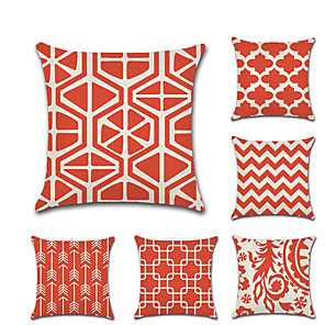 cheap Throw Pillow Covers-Set of 6 Linen Pillow Cover Geometic Damask Casual Chic & Modern Throw Pillow 45*45 cm
