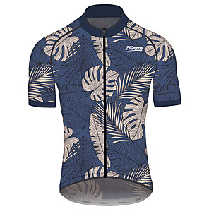 cheap Cycling Jerseys-21Grams Men's Short Sleeve Cycling Jersey Dark Navy Floral Botanical Bike Jersey Top Mountain Bike MTB Road Bike Cycling Quick Dry Sports Clothing Apparel / Race Fit