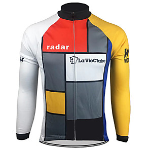 cheap Cycling Jerseys-21Grams Men's Long Sleeve Cycling Jersey Winter Spandex Polyester Jacinth +Gray Bike Jersey Top Mountain Bike MTB Road Bike Cycling Thermal / Warm UV Resistant Breathable Sports Clothing Apparel