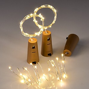 cheap LED String Lights-3pcs String led Wine Bottle with Cork 20 LED Bottle Lights Battery Cork for Party Wedding Christmas Halloween Bar Decor
