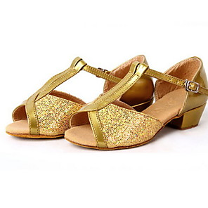 cheap Latin Shoes-Women's Latin Shoes Suede Heel Thick Heel Dance Shoes Gold / Leather