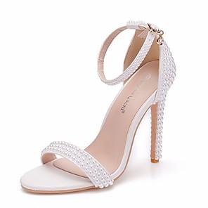 cheap Wedding Shoes-Women's Wedding Shoes Stiletto Heel Open Toe PU Summer White