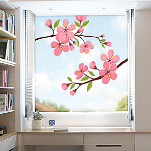 cheap Wall Stickers-Colored Flowers Window Film & Stickers Decoration Matte / Floral Floral PVC(PolyVinyl Chloride) Window Sticker / Matte / Door Sticker