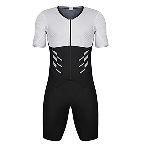 cheap Triathlon Clothing-21Grams Men's Short Sleeve Triathlon Tri Suit Black / White Bike Clothing Suit UV Resistant Breathable Quick Dry Sweat-wicking Sports Solid Color Mountain Bike MTB Road Bike Cycling Clothing Apparel