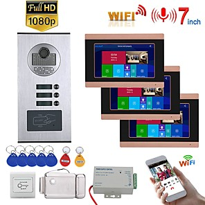 cheap Video Door Phone Systems-7inch Record Wired Wifi Video Intercom 3 Apartments Doorphone System with  RFID 1080P Doorbell Camera Electric Strike Lock