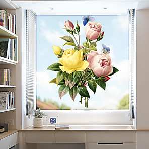 cheap Wall Stickers-Color Peonies Window Film & Stickers Decoration Matte / Floral Floral PVC(PolyVinyl Chloride) Window Sticker / Matte / Door Sticker