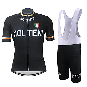 cheap Cycling Jersey & Shorts / Pants Sets-21Grams Men's Short Sleeve Cycling Jersey with Bib Shorts Spandex Polyester Black / Orange Black Retro Italy National Flag Bike Clothing Suit UV Resistant Breathable Quick Dry Sports Retro Mountain